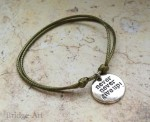 Khaki Bransoletka Charms NEVER NEVER GIVE UP!